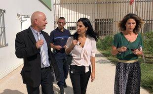 Alexandra Louis (au centre) en visite aux Baumettes, le 16 septembre 2019.