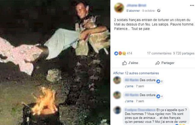 Le post Facebook qui sort la photo de son contexte.
