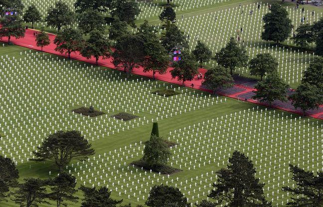 Vue aérienne des plus de 10.000 croix de marbre disposées sur la concession perpétuelle américaine.