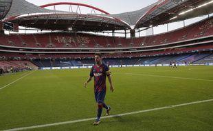 Lionel Messi lors du quart de finale de la Ligue des champions entre le Barça et le Bayern Munich, le 14 août 2020.