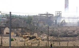 Vue générale en date du 21 septembre 2001 de l'usine AZF détruite par une explosion