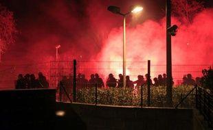 La police intervient sur les lieux des incidents à Corte, en Corse, le 15 février 2016