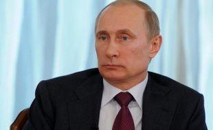 Le président Vladimir Poutine dans la résidence présidentielle de Novo-Ogaryovo en banlieue de Moscou, le 10 avril 2014