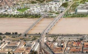Image de synthèse du projet d'aménagement du quartier Belvédère, sur la rive droite de la Garonne à Bordeaux