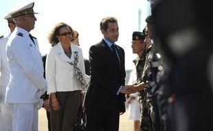 Nicolas Sarkozy et la ministre de l'Outre-mer Marie-Luce Penchard en visite en Martinique, le 17 février 2010.