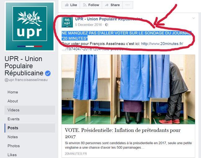 Page Facebook de l'UPR