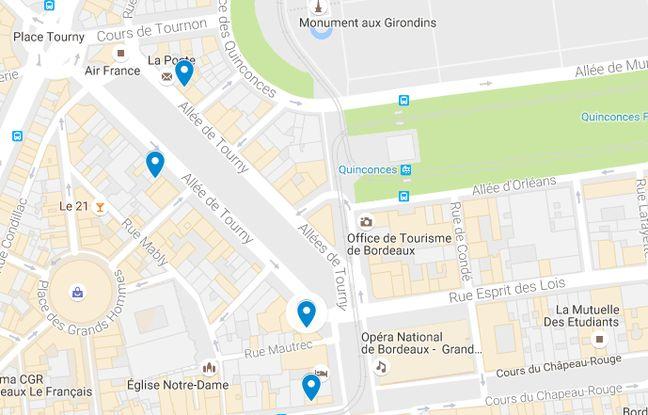 Les différents commerces des Girondins dans le centre-ville de Bordeaux.