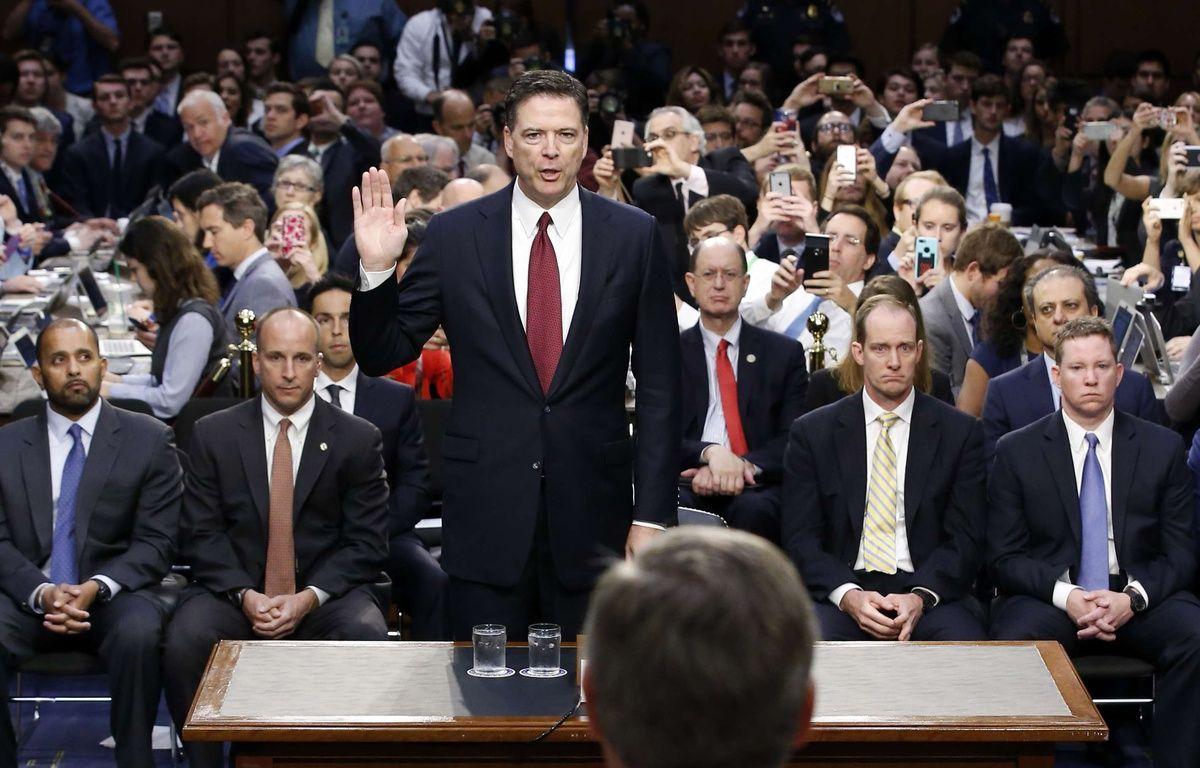 L'ex-directeur du FBI, James Comey, lors de son audition devant une commission du sénat américain à propos de l'enquête sur la campagne de Donald Trump et la Russie, le 8 juin 2017. – Alex Brandon/AP/SIPA