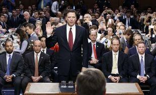 L'ex-directeur du FBI, James Comey, lors de son audition devant une commission du sénat américain à propos de l'enquête sur la campagne de Donald Trump et la Russie, le 8 juin 2017.