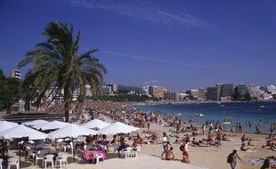 Une plage à Magaluf, à Majorque, aux Baléares.