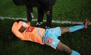 Djibril Cissé après la défaite de l'OM contre les amateurs de Carquefou, le 19 mars 2008.