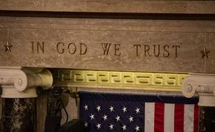 La célèbre inscription «In God We trust», dans un tribunal de Washington (Etats-Unis).
