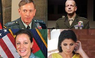 De gauche à droite et de haut en bas, le général David Petraeus, le général John Allen, la maîtresse du général Petraeus Paula Broadwell, et l'amie des deux généraux, Jill Kelley, par qui l'affaire est arrivée.