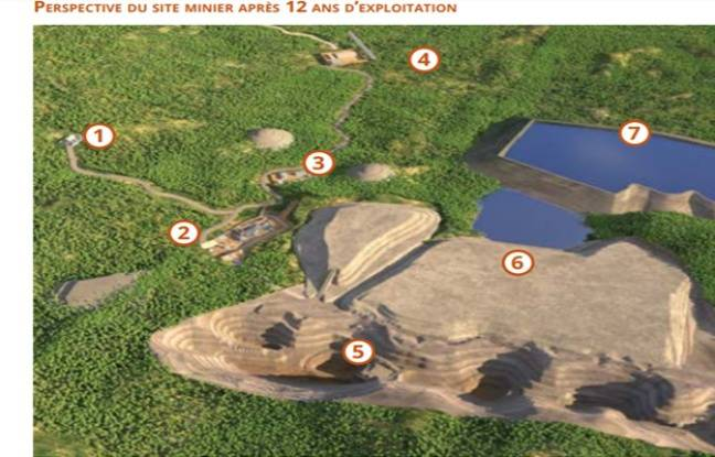Perspective du site minier après 12 ans d'exploitation.