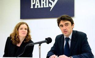 Nathalie Kosciusko-Morizet (L),candidate UMP pour Paris a décliné ses propositions pour l'environnement avec Yann  Wehrling, Alternative UDI-MoDem, en charge de son programme sur l'écologie.