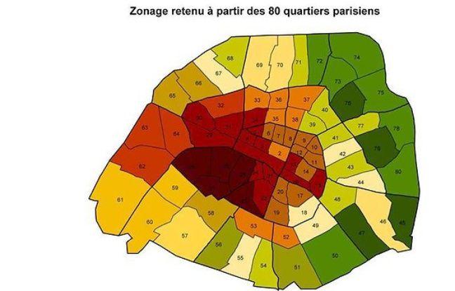 carte des quartiers de Paris en fonction des loyers.