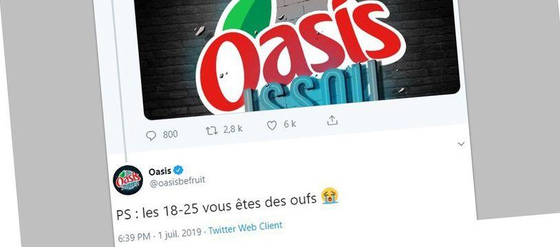 Tweets postés sur le compte officiel de la marque Oasis, le 1er juillet 2019 et supprimés le lendemain.