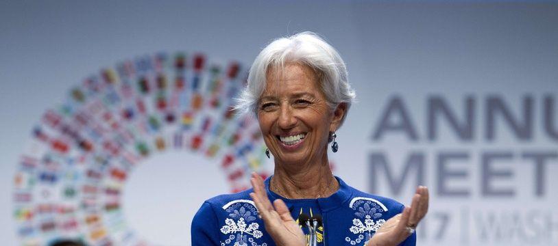 La directrice générale du Fonds monétaire international Christine Lagarde lors d'un discours donné à l'occasion de la réunion annuelle du FMI, à Washington le 13 octobre 2017.