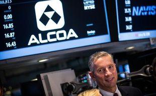 Le PDG d'Alcoa, Klaus Kleinfeld, visite la bourse de New-York, le 4 novembre 2014