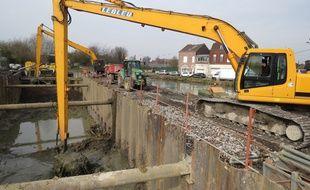 Le chantier autour du canal de Roubaix mis à sec sur 70 mètres.