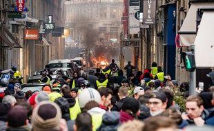 Lors de l'acte 9 des «gilets jaunes» dans le centre de Lyon le 12 janvier 2019.