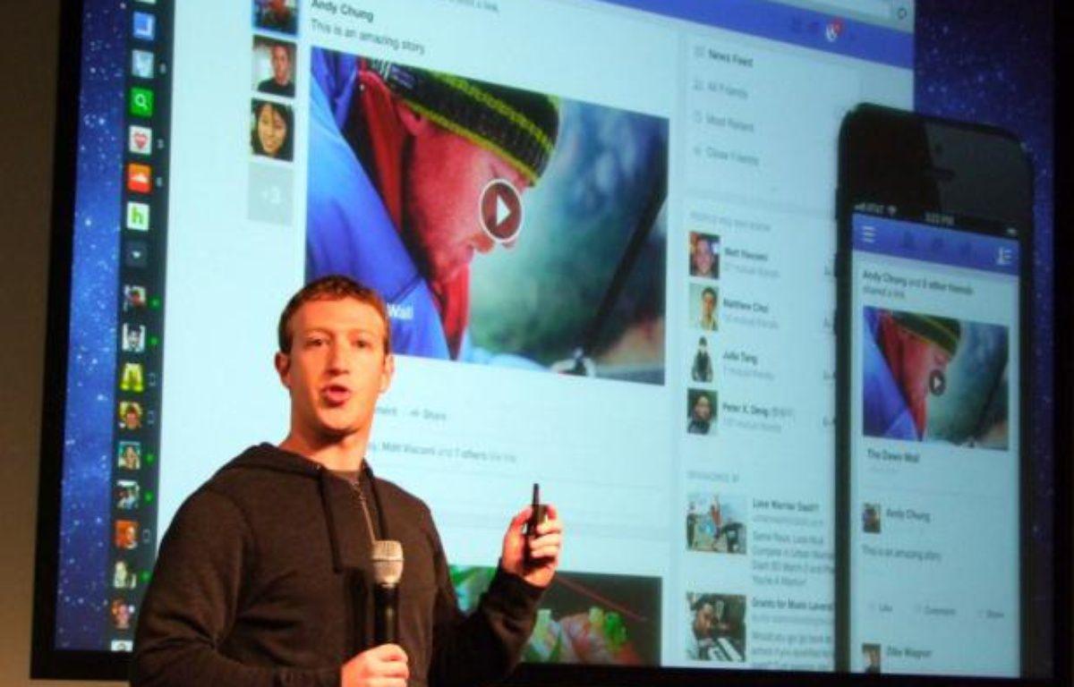 Mark Zuckerberg présente le nouveaux newsfeed Facebook, la 7 mars 2013, à Menlo Park, en Californie. – P.BERRY/20MINUTES