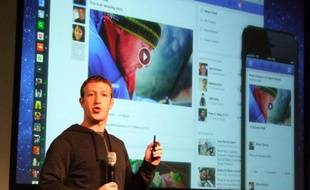 Mark Zuckerberg présente le nouveaux newsfeed Facebook, la 7 mars 2013, à Menlo Park, en Californie.