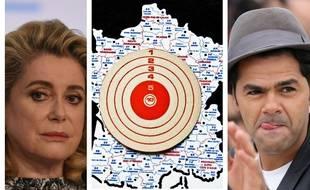Catherine Deneuve et Jamel Debbouze autour d'une carte de France.