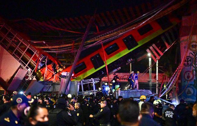 648x415 pont metro aerien effondre mexico alors rame roulait dessus