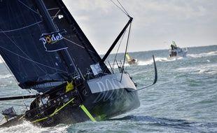 Le bateau du Brintannique Alex Thomson (Hugo Boss) est équipé de foils.