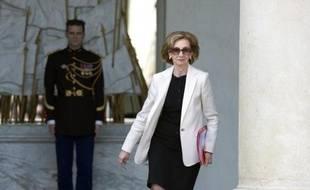 Nicole Bricq à la sortie du Conseil des ministres le 26 mars 2014 à l'Elysée à Paris