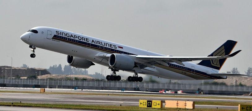 Illustration de l'Airbus A350-900 ULR de Singapores Airlines, décollant le 28 mars 2018. Crédit :