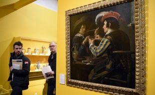 La peinture «Joueurs de cartes» du peintre flamand Theodore Rombouts, lors de l'exposition «A boire! Quand la bière s'invite au Musée!».
