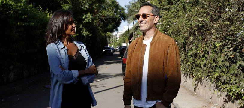 Gad Elmaleh, au côté de Karine Le Marchand, à Casablanca (Maroc) lors du tournage du numéro d'Une ambition intime qui lui est consacré.