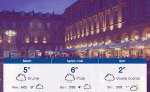 Météo Toulouse: Prévisions du jeudi 31 janvier 2019