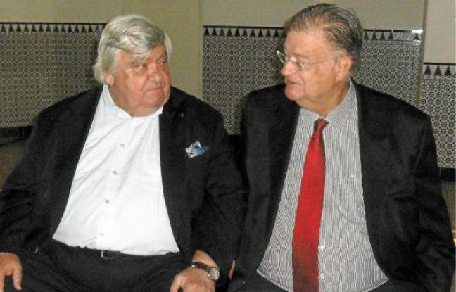 Louis Nicollin (à g.) et Georges Frêche, au mas Saint-Gabriel à Marsillargues, en septembre 2010.