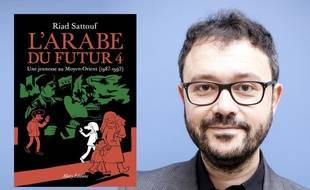 Riad Sattouf et la couverture de L'arabe du futur t4