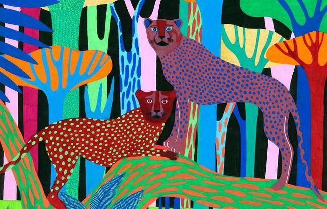 Deux léopards multicolores