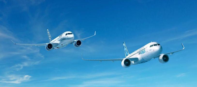 Un A320neo d'Airbus et un avions moyen-courrier CS100.
