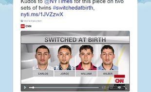 Les deux paires de jumeaux ont été intervertis et ce n'est qu'à l'âge adulte qu'ils ont retrouvé, chacun, leur véritable frères