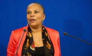 Christiane Taubira, le 9 octobre 2013 lors d'une conférence de presse à Paris.