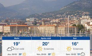 Météo Toulon: Prévisions du mercredi 27 mai 2020