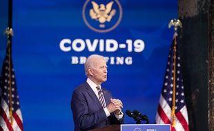 Joe Biden lors de son allocution sur le Covid-19, à Wilmington le 29 décembre 2020.