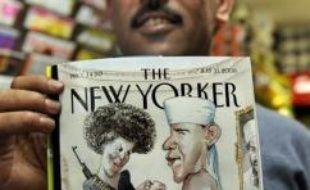 Une caricature de l'hebdomadaire américain The New Yorker représentant le candidat présidentiel démocrate Barack Obama habillé en militant islamiste, et sa femme Michelle avec une kalachnikov en bandoulière, a provoqué lundi la consternation du camp démocrate.