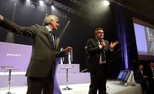 Hervé Morin (à gauche) et Yves Jégo, deux des candidats à la présidence de l'UMP, le 14 juin 2014 à Paris.