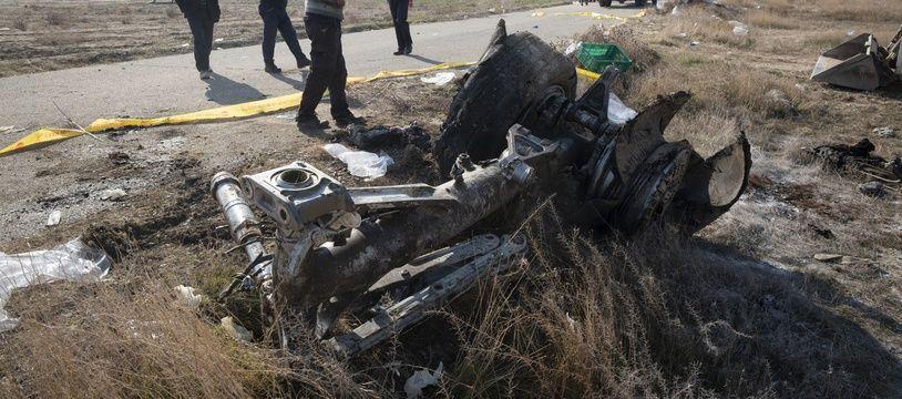 Le site du crash du Boeing ukrainien abattu en Iran, le 8 janvier 2020.