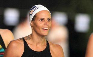 La nageuse française, Laure Manaudou lors d'un entraînement au Cercle des nageurs de Marseille, le 10 septembre 2011.