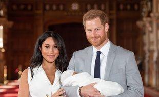 Meghan Markle,  le prince Harry et leur fils Archie le 8 mai 2019.