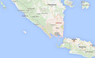 La province de Lampung, sur l'île de Sumatra en Indonésie.