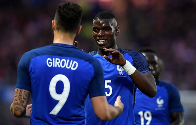 Olivier Giroud et Paul Pogba, le samedi 30 mai face au Cameroun.